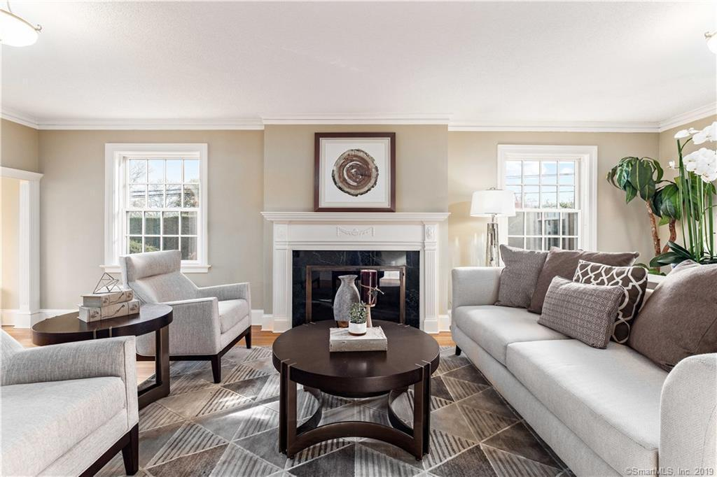 Living room with fireplace home staging