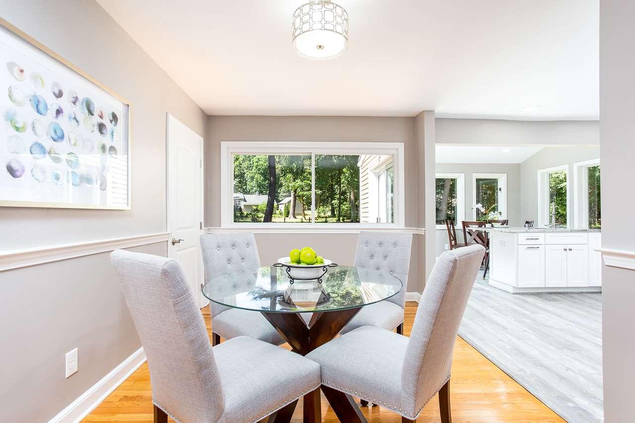 Kitchen table in open floor plan